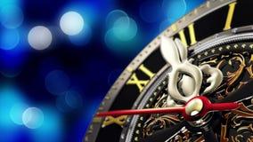 ` S del nuovo anno alla mezzanotte - vecchio orologio con i fiocchi di neve delle stelle e le luci di festa Immagine Stock