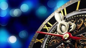 ` S del nuovo anno alla mezzanotte - vecchio orologio con i fiocchi di neve delle stelle e le luci di festa Immagini Stock Libere da Diritti