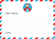 ` S del nuovo anno della busta del modello o lettera di Natale all'asiatico sveglio Santa Claus Cartolina d'auguri Illustrazione  Fotografia Stock Libera da Diritti