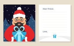 ` S del nuovo anno della cartolina d'auguri del modello o lettera di Buon Natale al caro amico Immagini Stock Libere da Diritti