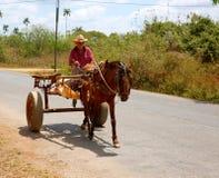 ` S dell'agricoltore che conduce vagone trainato da cavalli, Cuba Immagine Stock Libera da Diritti