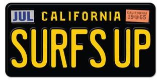` S della spuma sulla targa di immatricolazione California Fotografia Stock