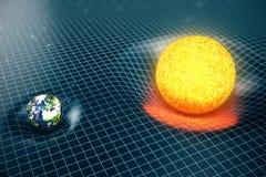 ` s della terra dell'illustrazione 3D e spazio delle curvature di gravità di Sun intorno  con effetto del bokeh La gravità di con illustrazione di stock