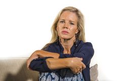 40s depressed and anxious beautiful blonde woman suffering depre royalty free stock photos