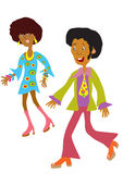 1970s disco couple. A cartoon afro american couple in the fashionable clothes of the 1970s Stock Photo