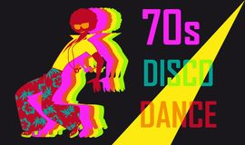 70s disco party. 70s style disco dance poster with a dancing stylish guy, EPS 8 vector illustration vector illustration