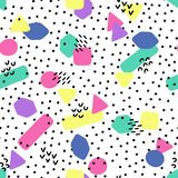 Hand drawn vector seamless pattern in retro memphis style. 80s disco style ornament in bright colors for fabric, wrapping paper, royalty free stock images