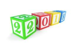 ` S do ano novo da caixa 2018 do alfabeto em uma ilustração branca do fundo 3D, Foto de Stock Royalty Free
