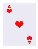 Ás do cartão de jogo dos corações Fotografia de Stock