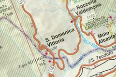S. Domenica Vittoria. Map. The islands of Sicily, Italy.  royalty free stock photos