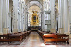 S.Domenico Basilica in Bologna. Interior of the big catholic church in Bologna, where you can see a lot of works of art, amazing place Stock Images