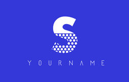 S Dotted Letter Logo Design with Blue Background. Stock Photography