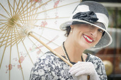 1920s Dressed Girl with Parasol Portrait Royalty Free Stock Photos