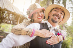 1920s Dressed Romantic Couple Flirting Outdoors Royalty Free Stock Photo