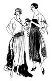 20s Duo Number 1. Two ladies in vintage 1920s fashions Stock Photography