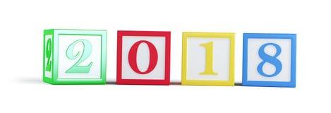 ` S en un ejemplo blanco del fondo 3D, del Año Nuevo de la caja 2018 del alfabeto representación 3D Foto de archivo