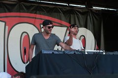 170.9's EndFest 2014. ROSEVILLE, CA - May 11: Andrew Taggart (L) and Alex Pall of The Chainsmokers perform in support of 107.9's EndFest at Placer County royalty free stock images