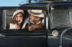 1920s Era Criminals Shooting Royalty Free Stock Photo