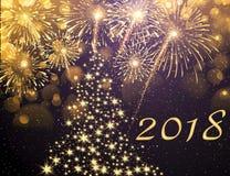 ` S Eve Нового Года Взрыв фейерверков и полночи Стоковые Фотографии RF