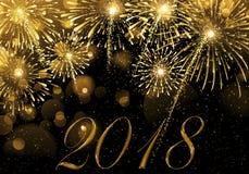 ` S Eve Нового Года Взрыв фейерверков и полночи Стоковые Изображения