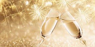 ` S Eve Нового Года с шампанским Стоковое Фото