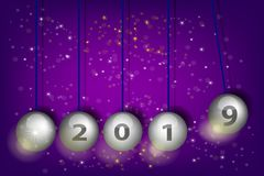 ` S Eve 2019 del Año Nuevo Bolas del péndulo Ilustración realista del vector ilustración del vector