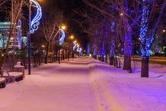 ` S Eve del Año Nuevo de la ciudad de la tarde Imágenes de archivo libres de regalías