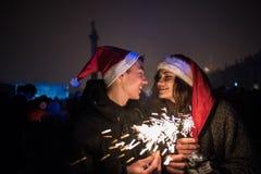 ` S Eve del Año Nuevo en el centro de ciudad en el cuadrado del palacio Fotografía de archivo libre de regalías