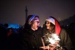 ` S Eve del Año Nuevo en el centro de ciudad en el cuadrado del palacio Foto de archivo