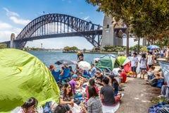 ` S Eve del A?o Nuevo en Sydney Harbour fotografía de archivo