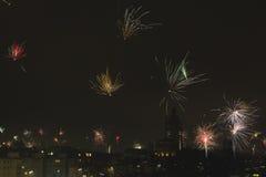 ` S Eve Fireworks del Año Nuevo Foto de archivo libre de regalías