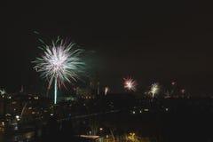 ` S Eve Fireworks för nytt år royaltyfri fotografi