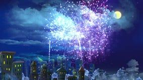 ` S Eve Fireworks Over de nouvelle année la ville illustration stock