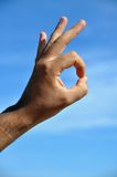 It's excellent!. This picture is a hand expression of a man representing excellency, a good attitude or acceptance Royalty Free Stock Images