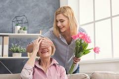 ` S för dotterbokslutmodern synar, och att ge sig blommar Royaltyfri Foto