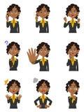 ` S för nio kvinnor gör en gest och ansiktsuttryck av svarta kvinnor royaltyfri illustrationer