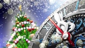 ` S för nytt år på midnatt - gammal klocka med stjärnasnöflingor och ferieljus lager videofilmer