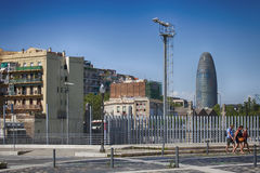 It's a famous landmark in Barcelona owned by Grupo Agbar Royalty Free Stock Photos