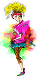 80s fashion. Model with colorful clothes stock illustration