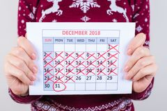 It`s five days to new year! Cropped close up photo of calendar i royalty free stock photo