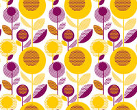 60s floral retro pattern. geometry decorative style. Vintage flower seamless motif. vector illustration Royalty Free Stock Photos