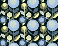 60s floral retro pattern. geometry decorative Royalty Free Stock Photo