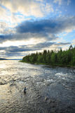 That`s fly fishing. Fly fishing wast water part of lake exit, Sweden Stock Photography