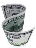 S-forma una banconota di 100 dollari. Fotografie Stock Libere da Diritti