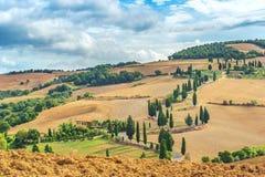S-formad väg i Tuscany, Monticchiello, Italien Arkivfoto