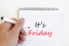 It's friday concept on notebook. It's friday text concept write on notebook stock image