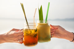It`s friday fun time! Relax and enjoy your summer beach holidays with refreshing cocktail drink!. Cheers Stock Image