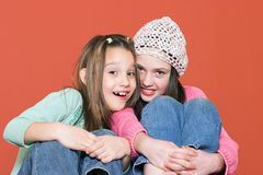 It's fun together. Two young girls with happy smiles Stock Photo