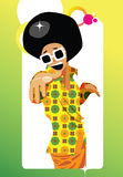 70's funky guy in a flower shirt. Happy seventy's character engaging the viewer with a big smile. Vector illustration vector illustration