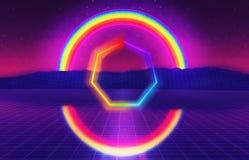 80s futuristic landscape with rainbow. 3D Illustration - 80s futuristic landscape with rainbow Royalty Free Illustration